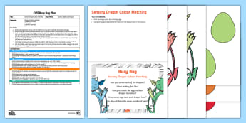 EYFS Sensory Dragon Colour Matching Busy Bag Plan and Resource Pack - knights, castles, fabric, zog, tactile