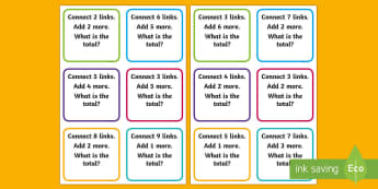 EY Addition Links Activity - Maths, number, calculation, number pattern, number process, plus, add, worksheet, activity, mat, ali