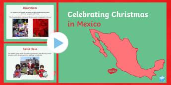KS1 Christmas in Mexico PowerPoint - tradition,Christmas, Mexico, America, North America, Xmas, Santa, customs, Spanish, Posadas, wise me