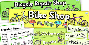 Bicycle Repair Shop Role Play Pack - Bike repair, bicycle, bikes, role play, pack, transport, role play, wheels, tyres, bikes, bike role play, fix, repair