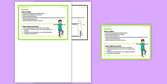 Foundation PE (Reception) - Balancing Teacher Support Card - EYFS, PE, Physical Development, Planning