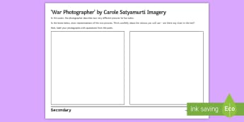 Imagery Activity Sheet to Support Teaching on 'War Photographer' by Carole Satyamurti - Imagery, poetry analysis, Carole Satyamurti, Edexcel Poetry, GCSE English Literature, Poetry Antholo