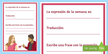 Expression of the Week Display Poster Spanish - Classroom, Organisation, Vocabulary, Teacher, Tools, Visual, Aid