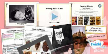 Art: Ancient Egypt: Drawing Masks in Pen UKS2 Lesson Pack 3