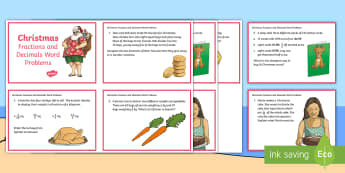 Christmas Fractions and Decimals Word Problems Challenge Cards - maths, fractions, decimals, festivals, christmas, challenge cards