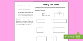 Area of Tool Boxes Father's Day Themed Measurement Activity Sheet - ACMMG109, calculate area, area, area of rectangles, finding area, fathers day maths, year 5 maths, w