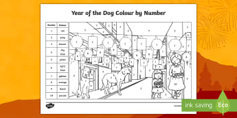 KS1 The Year of the Dog Colour by Number - chinese new year, recognising numbers to 10, following instructions, colour recognition, recognising