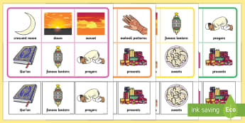 Ramadan and Eid Matching Cards and Boards Game - EYFS, Early Years, KS1, religion, faith, belief, Eid, Ramadan, Muslim, Islam, festival.
