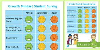 Growth Mindset Junior Assessment Tracker - growth Mindset, survey, assessment, self assessment, new zealand