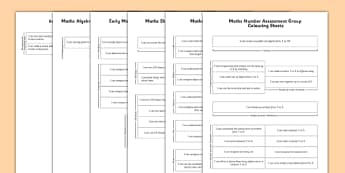 1999 Curriculum Junior Infants Maths Assessment Group Colouring Sheets Pack - roi, irish, gaeilge, assessment checklist, maths, junior infants, pack