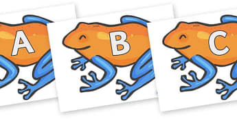 A-Z Alphabet on Tree Frogs - A-Z, A4, display, Alphabet frieze, Display letters, Letter posters, A-Z letters, Alphabet flashcards