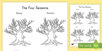 Four Seasons Tree Drawing Activity Sheet - weather, template, worksheet, spring, summer, autumn, winter, fall, observation, outside, art