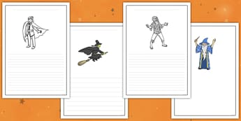 Halloween Writing Frames - halloween, writing, frames, images