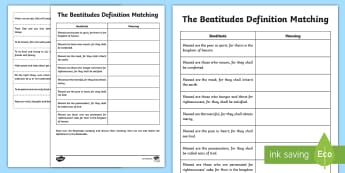 The Beatitudes Definitions Activity Sheet - CfE Catholic Christianity, prayers, mass responses ,Scottish, worksheet