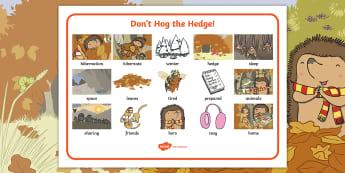 Don't Hog the Hedge! Word Mat - Twinkl Originals, Fiction, Autumn, Hiberate, Woodland, Animals, KS1, EYFS, Vocabulary, Independent W