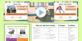 -ably and -ibly Word Endings Activity Pack - SPaG, GaPS, creating adverbs, adjective into adverb, suffix, -able, -ible, spelling rules, national