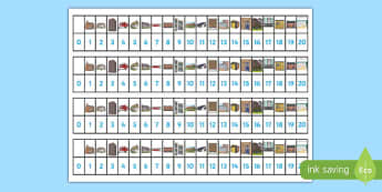 Houses and Homes Number Track (1-20) - house, home, building, Maths, Math, number track, numbertrack, Counting, Numberline, Number line, Counting on, Counting back,  brick, stone, detached, terraced, bathroom, kitchen, door, caravan, where we live, o