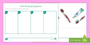Tooth Brushing Sequence Activity Sheet - healthy living, tooth Brushing, dental health, worksheet, healthy habits. pre-k health, kindergarten