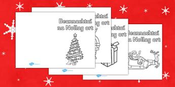 Christmas Card Templates Gaeilge - Beannachtaí na Nollag ort - roi, irish, gaeilge, christmas, card, template,