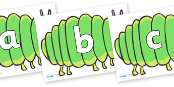 Phoneme Set on Fat Caterpillars to Support Teaching on The Very Hungry Caterpillar - Phoneme set, phonemes, phoneme, Letters and Sounds, DfES, display, Phase 1, Phase 2, Phase 3, Phase 5, Foundation, Literacy