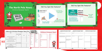 KS1 The North Pole News: Christmas Newspaper Reports Activity Pack - xmas, literacy, santa, father cristmas, reporting, recounts, non-fiction