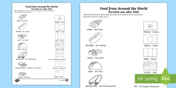 Food From Around the World Matching Activity Sheet English/German - eating, food, nutrition, matching, travelling, worksheet, EAL, German