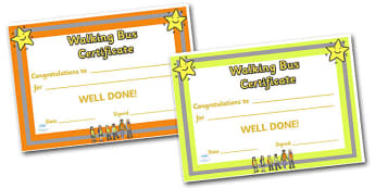 Editable Walking Bus Certificate - Walking bus, safety, safe walking, reward, award, certificate, medal, rewards, school reward, medal, good behaviour