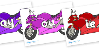 Phase 5 Phonemes on Motorbikes - Phonemes, phoneme, Phase 5, Phase five, Foundation, Literacy, Letters and Sounds, DfES, display