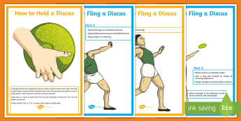 Fling Throw Technique Display Posters - PE, Y6, Y5, Y4, Y3, KS2, Athletics, discus, fling throw, peer assessment, throw, throwing, technique