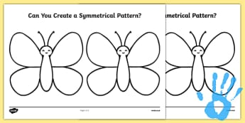 Create a Symmetrical Butterfly Pattern Fingerprint Activity Sheet - maths, ssm, shape space measure, painting activities, worksheet