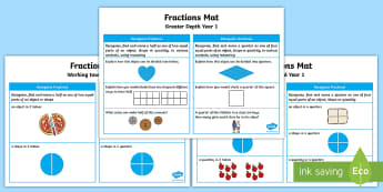 Year 1 Fractions Differentiated Maths Mat - KS1, Maths, Fractions, mat, Year 1, Y1, fraction mat, maths assessment, assessment