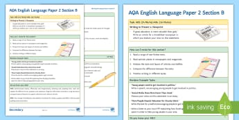 AQA English Language Paper 2 Section B Support Guide - AQA, Paper 2, section B, writing, non-fiction, AO5, AO6, viewpoint, revision, exam technique, revise