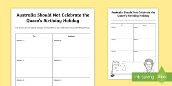 The Queen's Birthday For or Against Persuasive Writing Activity - English (Australian)-Australia - Australian curriculum, queen, persuasive, plan, Queen Elizabeth, activity sheet, writing frame,Austr