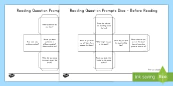 Reading Question Prompts Dice Nets - Reading, Questions, Before Reading, During Reading, After Reading, Guided Reading, Small group Readi