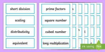 Year 5 Maths 2014 Curriculum Vocabulary Cards - key word cards, key vocabulary, national curriculum words, visual aid, maths display, working wall