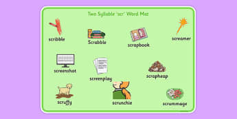 Two Syllable SCR Word Mat - speech sounds, phonology, articulation, speech therapy, cluster reduction, complex clusters, three element clusters