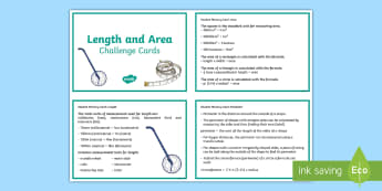 Sixth Class Length and Area Fact Cards - length, area, perimeter, facts, cards, memory, learning log, maths journal