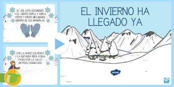 Presentación: Rima sobre el invierno - Proyecto  - El invierno, rimas, poesías, presentación, proyecto didáctico