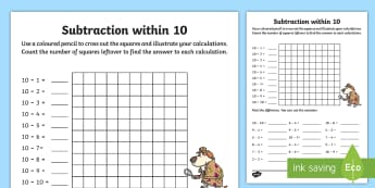 Subtraction within 10 Worksheet / Activity Sheet - NI KS1 Numeracy, subtraction within 10, visual maths, worksheet, home learning, homework, plenary, s