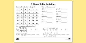 3 Times Table Worksheet / Activity Sheet - 3 times tables, counting 3s, 3s, 3, three times table, multiplication, multiplying by 3, times table, times tables, multiplication tables, ks2, worksheet