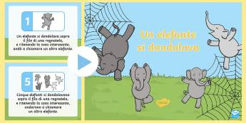 Un elefante si dondolava Presentazione  - filatrocca, canzone, bambini, scuola, italiano, italian, numeri, scolastico