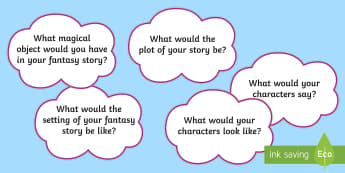 Fantasy Story Writing Questions Display Posters - display, posters, story writing, fantasy, imaginary worlds