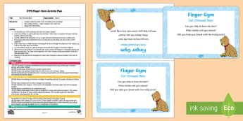 EYFS Get Dressed Bear! Finger Gym Plan and Prompt Card Pack - bear, clothes, fastenings, zips, buttons, fine motor control, funky fingers, finger gym, coordinatio
