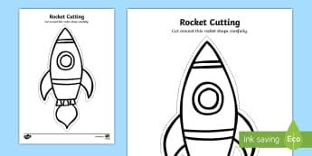 Rocket Cutting Activity Sheet - Back to School, Junior Infants, cut, scissors, curved, fine motor, motor skills, space, ,Irish, work