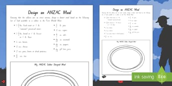Design an Anzac Soldier Meal Worksheet / Activity Sheet - New Zealand, Anzac Day, 25 April, ANZAC, Poppies, World War 1, World War 2, worksheet, Gallipoli, fo