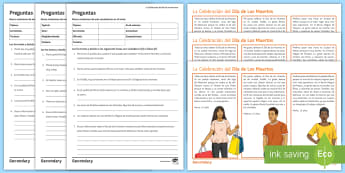Mexican Day of the Dead Differentiated Reading Comprehension Activity Spanish - Halloween, Day, Dead, Vocabulary, Spellings, Mexico, Traditions, Festivities, Celebrations