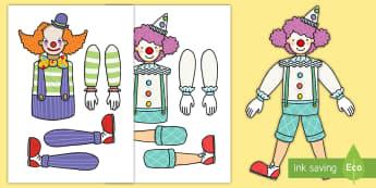 Circus Clown Split Pin Activity - circus craft, juggler, ringmaster, big top, acrobat,