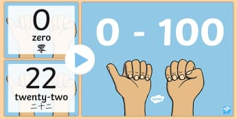 0 100 Numerals and Words Maths Counting PowerPoint - English/Mandarin Chinese - 0 100 Numerals and Words Maths Counting PowerPoints - romans, countng, couting, numberals, coutning,