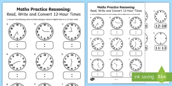 Read Write and Convert Time Between Analogue and Digital 12 hour Clocks Assessment - year 4, year 5, year 6, convert time, analogue clocks, digital clocks, 12 hour clocks,Australia