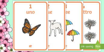 Numeri da 1 a 10 Primaverili Poster - numeri, 1, 10, matematica, primavera, primaverile,contare, conta, somma, italiano, italian, material
